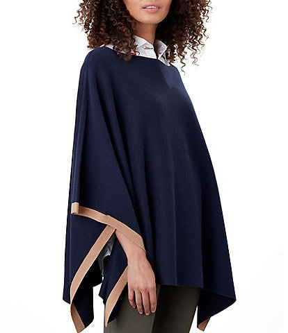 Joules Vienna Knitted Milano Stitch Contrast Tipping Poncho