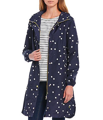 Joules Waybridge Spot Print Hooded Packable Waterproof Raincoat with Pockets