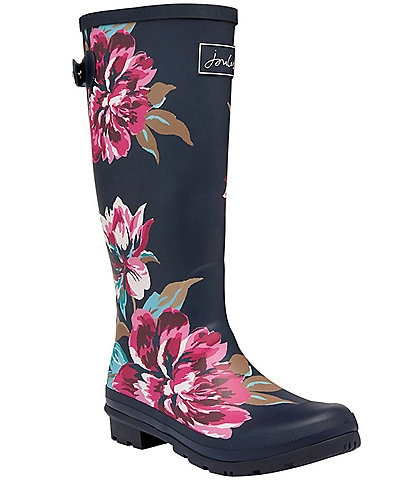 Joules Welly Print Floral Print Tall Block Heel Rain Boots