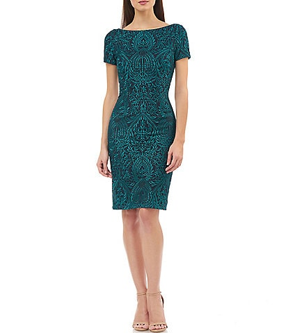 JS Collections Bataeu Neck Embroidered Mesh Soutache Sheath Dress