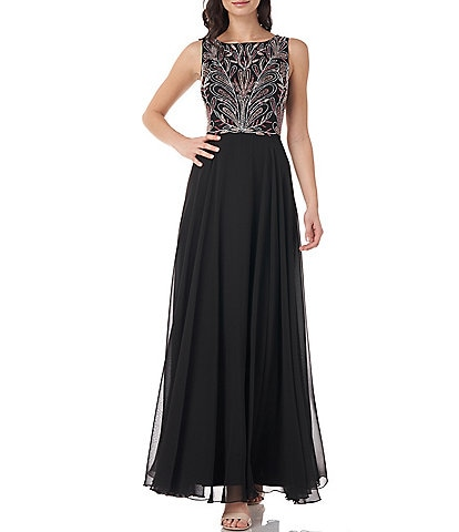 JS Collections Beaded Bodice Pleated Skirt Chiffon Gown