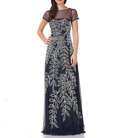 JS Collections Beaded Illusion Yoke A-Line Gown