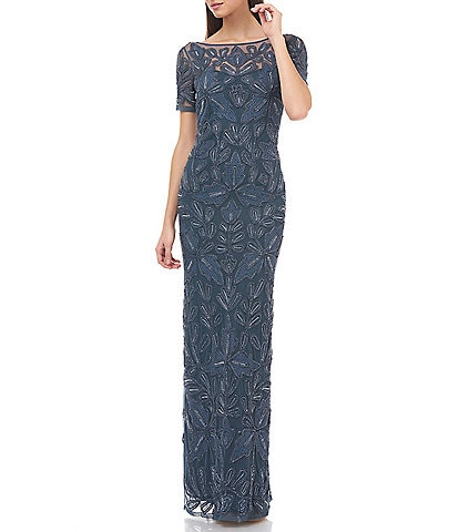 JS Collections Beaded Mesh Illusion Neck Soutache Gown