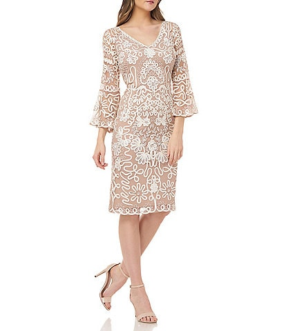 JS Collections Beaded Soutache V-Neck Illusion 3/4 Bell Sleeve Dress