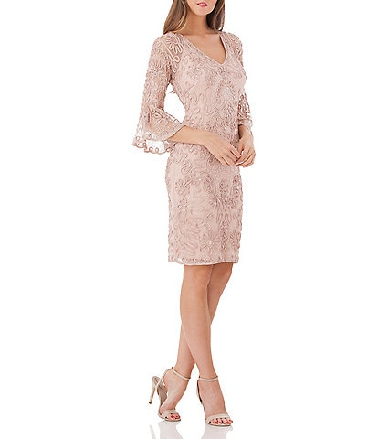 JS Collections Beaded Soutache Bell Sleeve Dress