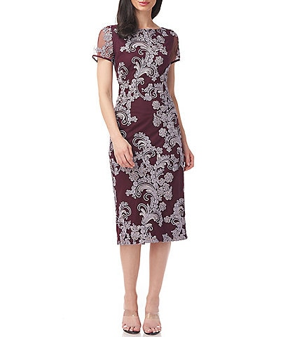 JS Collections Boat Neck Short Sleeve Soutache Embroidered Sheath Dress