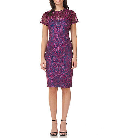 JS Collections Crew Neck Short Sleeve Soutache Lace Midi Cocktail Dress
