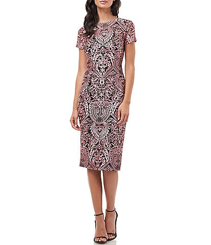 JS Collections Boat Neck Short Sleeve Soutache Lace Midi Cocktail Dress