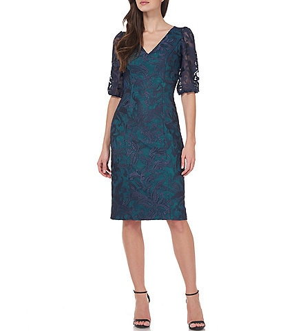 JS Collections Celeste Illusion Lace Puff Sleeve Sheath Dress