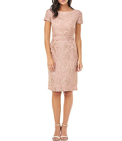 JS Collections Corded Embroidered Short Sleeve Sheath Dress
