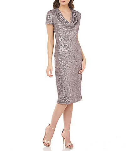 JS Collections Cowl Neck Short Sleeve Sequin Sheath Dress