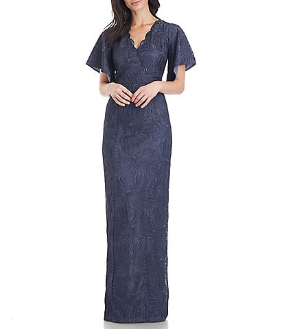 JS Collections Drina V-Neck Column Scalloped Lace Short Flutter Sleeve Gown