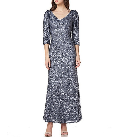 JS Collections Elbow Sleeve Sequin Gown