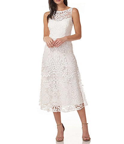 JS Collections Embroidered A-Line Illusion Round Neck Sleeveless Midi Dress
