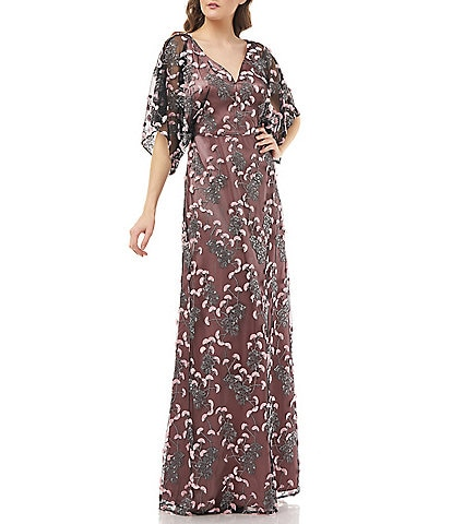 JS Collections Embroidered Dolman Sleeve A-Line Gown