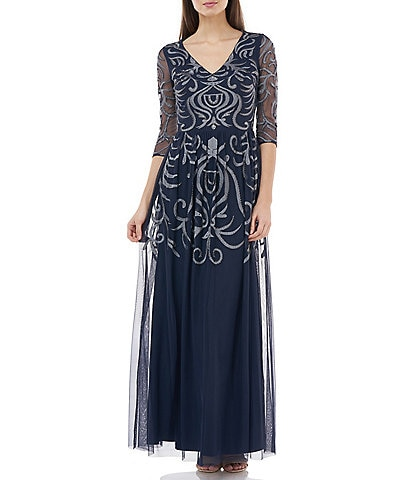 JS Collections Embroidered Gathered Waist A-Line Gown