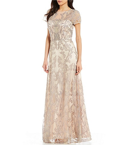 JS Collections Embroidered Lace Illusion Dress