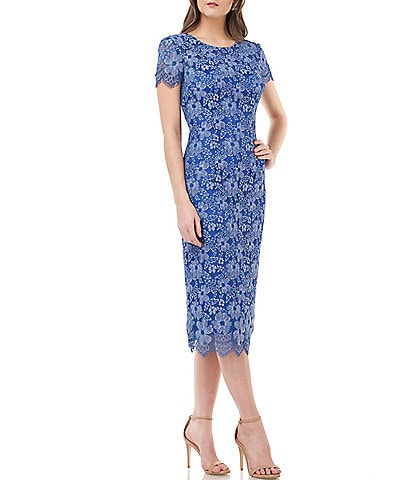 JS Collections Embroidered Lace Midi Sheath Dress