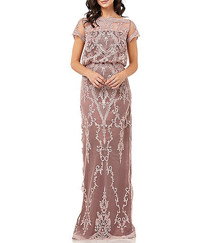 JS Collections Embroidered Lace Soutache Blouson Gown