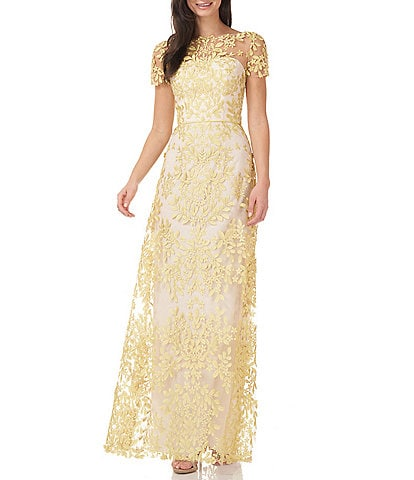 JS Collections Embroidered Lace V Back Gown