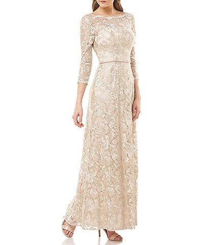 JS Collections Embroidered Mesh Boat Neck Illusion Yoke Scallop Trim A-Line Gown