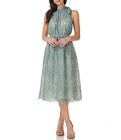 JS Collections Embroidered Mock Neck Midi Dress