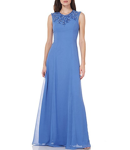 JS Collections Emma Sleeveless Beaded A Line Gown