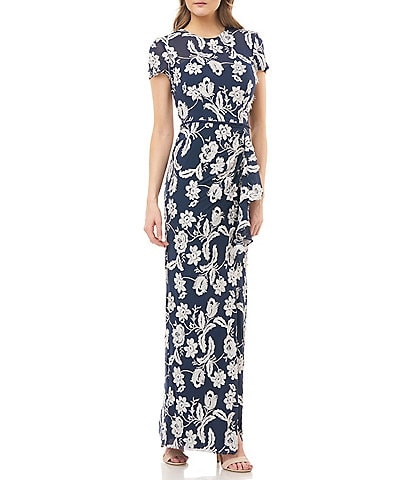 JS Collections Eyelash Embroidered Floral Short Sleeve Ruffle Column Gown