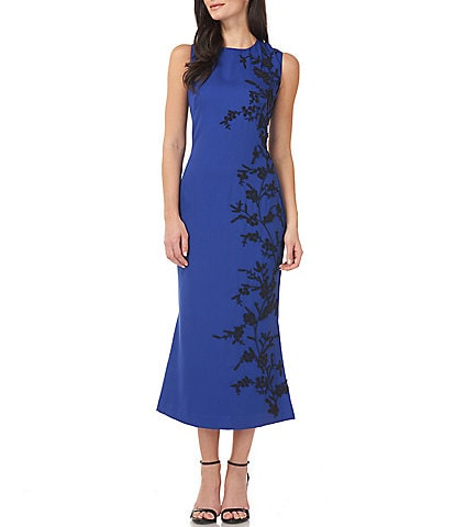 JS Collections Floral Bead Applique Stretch Crepe Sleeveless Crew Neck Midi Dress