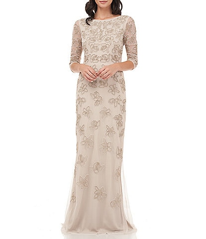 JS Collections Floral Beaded Mesh 3/4 Sleeve Column Gown