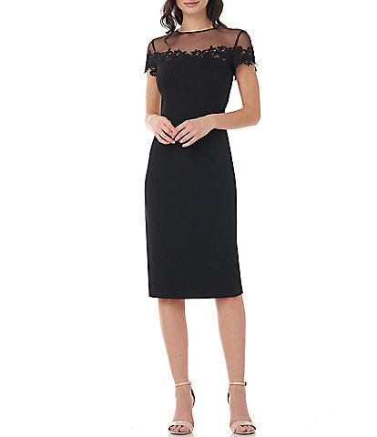 JS Collections Floral Embroidered Illusion Neck Short Sleeve Stretch Crepe Sheath Dress
