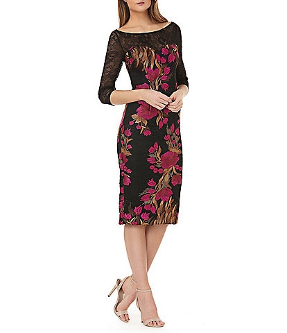 JS Collections Floral Embroidered Lace Midi Length Sheath Dress