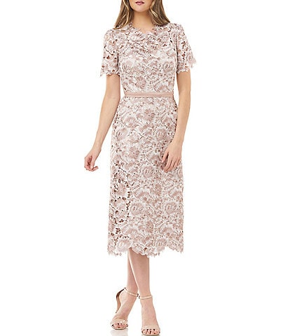 JS Collections Floral Lace Short Sleeve Sheath Midi Dress
