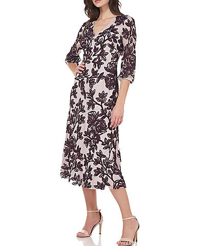 JS Collections Harlow V-Neck 3/4 Sleeve Illusion Lace Midi Dress