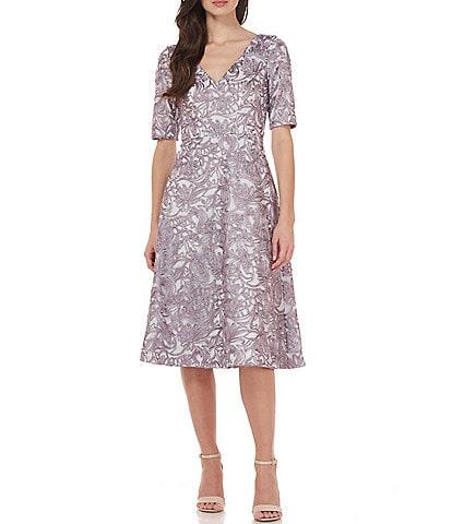 JS Collections Hazel Lace Fit & Flare Short Sleeve V-Neck Midi Dress