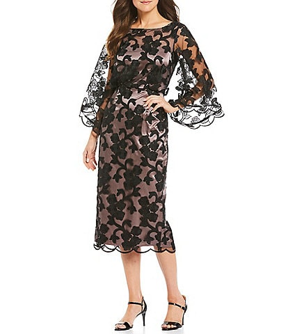 JS Collections Illusion 3/4 Bell Sleeve Scallop Hem Embroidered Midi Sheath Dress