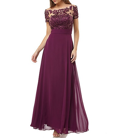 JS Collections Illusion Beaded Bodice A-Line Chiffon Gown