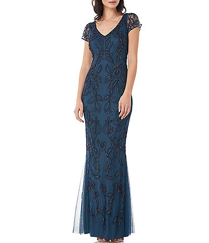 JS Collections Illusion Cap Sleeve V-Neck Floral Beaded Mesh Overlay Column Gown