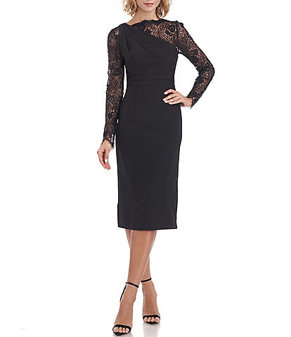 JS Collections Illusion Lace Sleeve Boat Neck Crepe Midi Dress