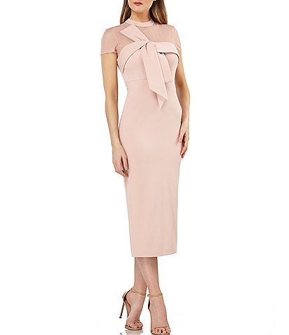 JS Collections Illusion Neck Crepe Bow Front Detail Midi Dress