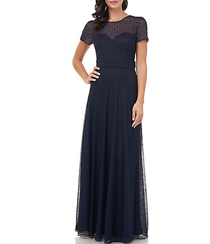 JS Collections Illusion Neck Short Sleeve Beaded Bodice Gown