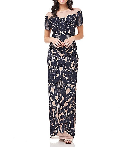 JS Collections Illusion Neck Short Sleeve Soutache Column Gown