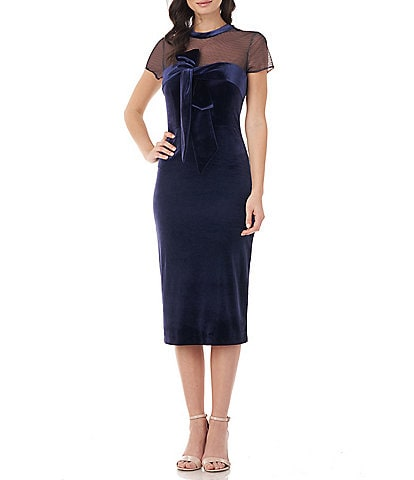 JS Collections Illusion Neck Stretch Velvet Short Sleeve Bow Detail Midi Sheath Dress