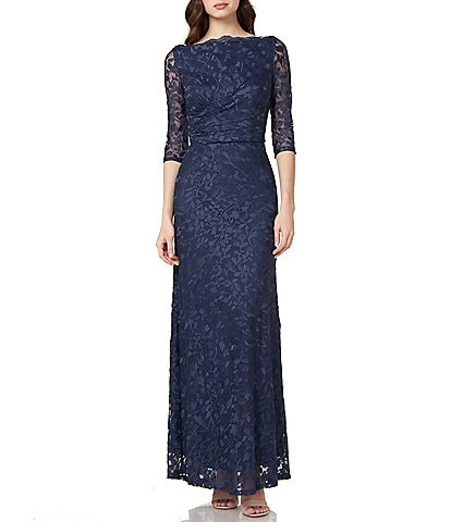 JS Collections Illusion Sleeve Embroidered Mesh Gown