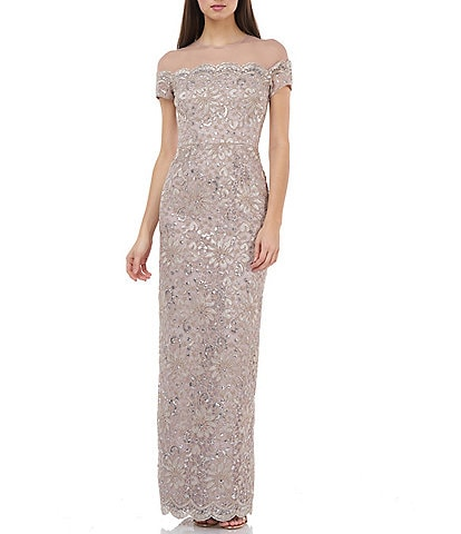 JS Collections Illusion Yoke Lace Gown