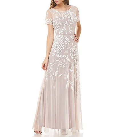 JS Collections Illusion Yoke Short Sleeve Vine Beaded Motif Mesh A-Line Gown