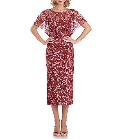 JS Collections Round Neck Short Flutter Sleeve Floral Embroidered Sheath Dress