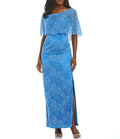JS Collections Katherine Illusion Lace Pop Over Gown