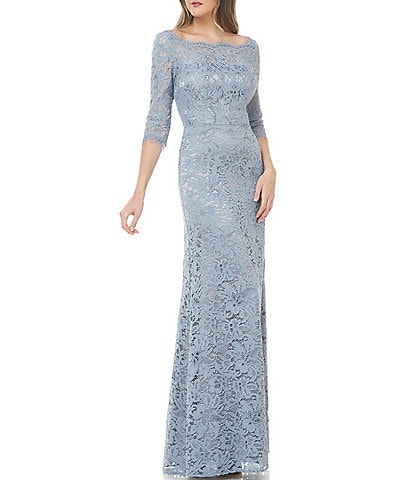 JS Collections Boat Neck V Back Lace Gown