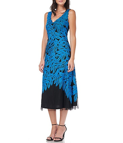 JS Collections Leaf And Vine Embroidered V-Neck Sleeveless A-Line Dress